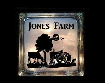 Personalized Farm Scene, Custom Country Scene, Last Name Light, Tractor Scene Lighted Glass Block - Tractor Light - GB-1079