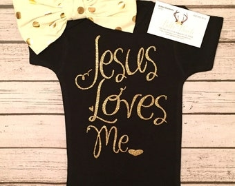 Baby Girl Clothes Girl Bodysuit Jesus Loves Me Bodysuit For Baby Girls GOD Bodysuit Sparkle Bodysuit Religious Baby Shirt Baby Girl