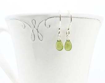 Green earrings, August birthstone earrings, gift for an anniversary, birthday earrings, Vessonite vesuvianite