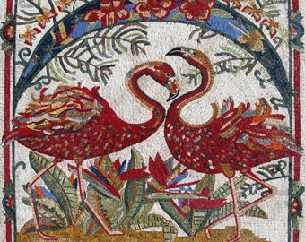 Red flamingos Marble Mosaic