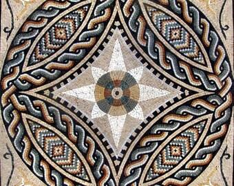 Geometric Roman Mosaic Panel - Remus