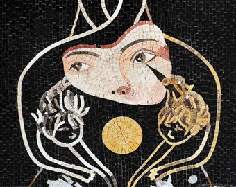 "Felix Mas""Woman-with-Cats"" - Mosaic Art Reproduction"