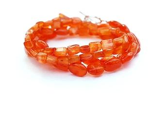 Carnelian Bracelet, Orange Wrap Bracelet, Carnelian Necklace, Orange Lariat Bracelet, Boho Bead Necklace, Boho Bracelet