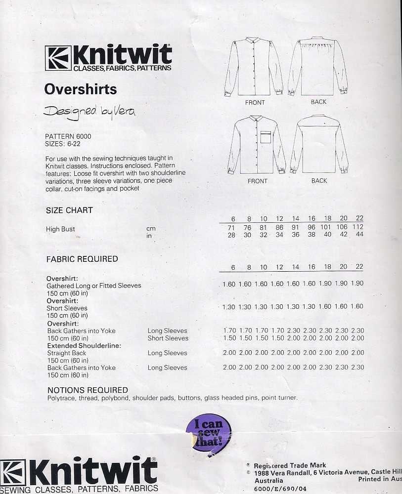 Knitwit sewing patterns choice image craft decoration ideas knitwit pattern 6000 overshirts sewing pattern dressmaking 647 jeuxipadfo choice image bankloansurffo Images