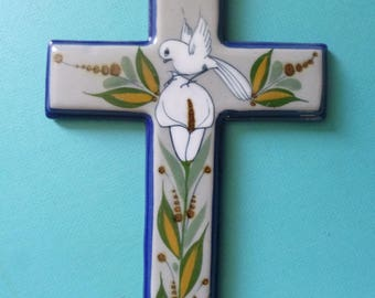 Vintage Ceramic Cross Folk Art Wall Hanging with Calla Lily and Dove Design Made in Mexico