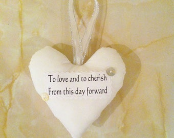 Wedding gift, wedding heart, to love and to cherish, wedding keepsake