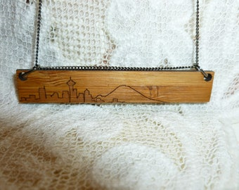Seattle Space Needle City Scape Wood Necklace