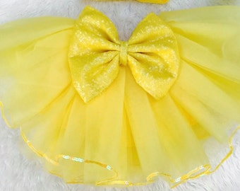 Baby Chick Easter yellow tutu with sequin bow sewn tutu skirt
