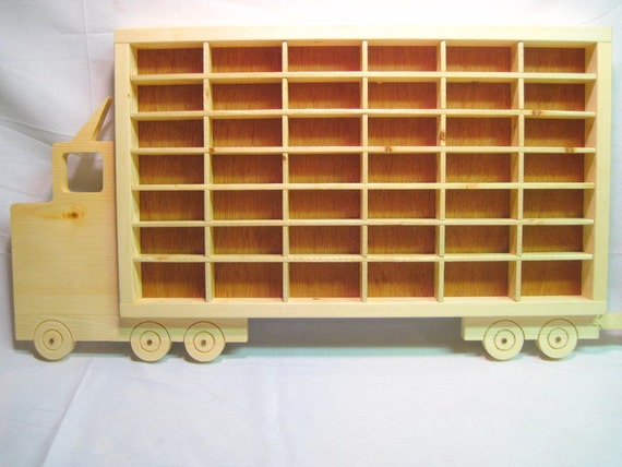 Hot wheels boys wood truck display case toy wall for Hot toys display case ikea