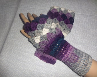 fingerless gloves, wristwarmer gloves, winter accessory, fingerless mittens, autumn gloves, crocodile stitch, winter gloves,  hand crochet