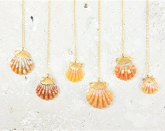 Gold Dipped Sunrise Shell Necklace, Hawaiian Sunrise Shell Necklace, Sunrise Shell Pendant Necklace, Gold Sunrise Shell Necklace