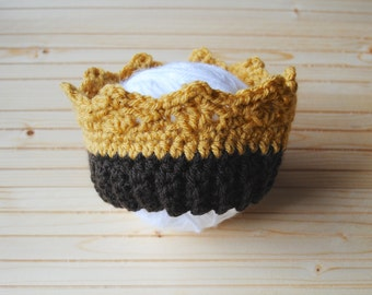 Where the Wild Crown, Knit Crown, Newborn Crochet Crown, Baby Crown for Photos, Photography Prop Crown, Wild Thing, Knit Baby Crown