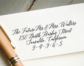Self-Inking Return Address Stamp, Custom Calligraphy Stamp, Wedding Envelope Addressing, RSVP Card Stamp, Modern Calligraphy Stamp