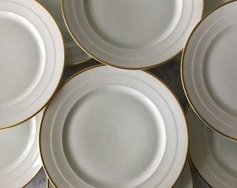 "Vintage Rosenthal China Dinner Plates, Rosenthal Madeleine, set of 9   white and gold china, gold rimmed porcelain plates, 10"" dinner plates"