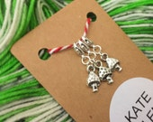 3 Toadstool stitch markers - lobster claw
