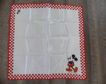 FREE SHIPPING! Vintage Mickey Mouse Scarf Walt Disney Productions Red and White Checkered