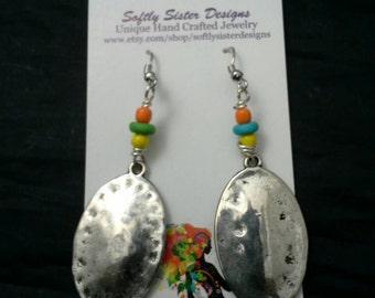 Shields Earrings,Wire Wrapped Earrings,  Dangle Earrings, Wire Art