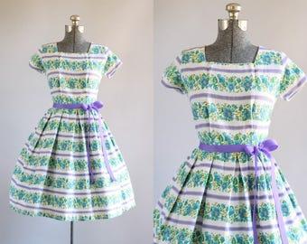 Vintage 1950s Dress / 50s Cotton Dress / Blue Floral and Purple Striped Dress w/ Ribbon Waist Tie S/M