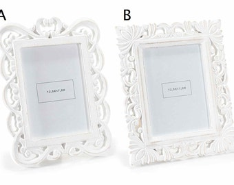 Picture Frame White Antiqued Wood Shabby Chic