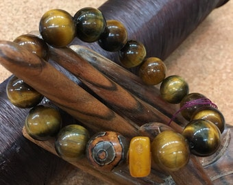 Tiger Eye, Amber, and Vintage African Wood Stretchy Bracelet AAA gem quality