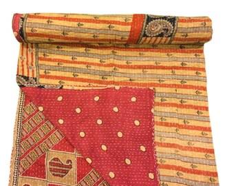 Vintage Kantha Throw, Handmade Kantha Quilt, Reversible Kantha Quilt, Beach Throw, VKQ1577