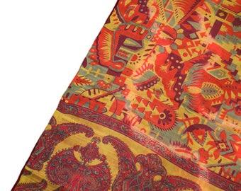 Antique Silk Saree Scarf Vintage Beautiful Silk Sari Stole Women Shawl Hand Printed Silk Sarong Curtain Drape PSS2536