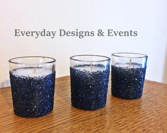 25 navy candle holders,  gold votives, candle holders for wedding, candle holder centerpiece, navy decorations, navy centerpieces, candles