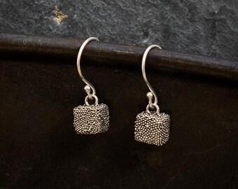 Silver Earrings, Silver Drops, Granulation Earrings, Silver Granulation, Everyday Earrings, Simple Drops, Square Earrings, Sterling Silver