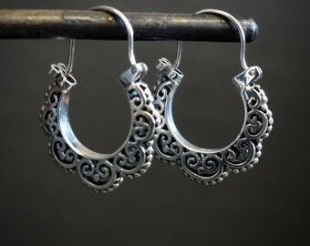 Silver Hoops, Silver Hoop Earrings, Filigree Earrings, Silver Filigree, Sterling Silver
