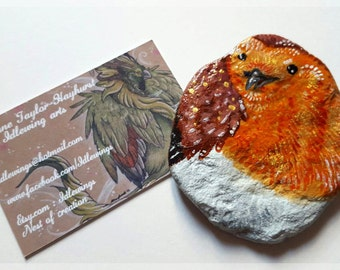 Dumpy Robin ~ Hand Painted Pebble