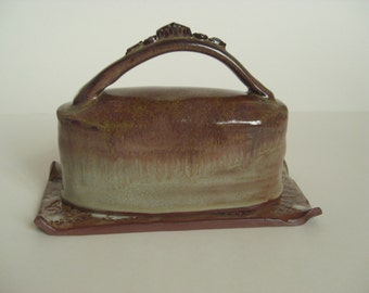 Golden brown covered butter dish, handmade ceramic butter dish