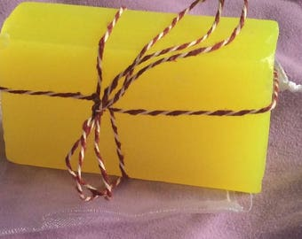 Bar of handmade soap scented with lemon