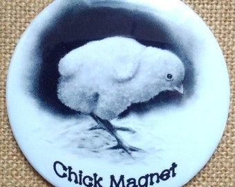 "Chick Magnet, Button, Badge, OR Fridge Magnet, Pencil Drawing of Chick, PUN Humor, 3"", Art Button or Magnet, Funny Gift for Guy, Humor"