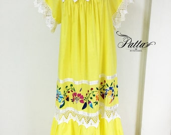 Vintage Mexican hand embroidered yellow dress, embroidery crochet dress, hippie boho behemian