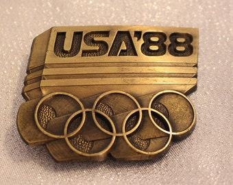 Vintage Olympic USA '88 Belt Buckle Solid brass