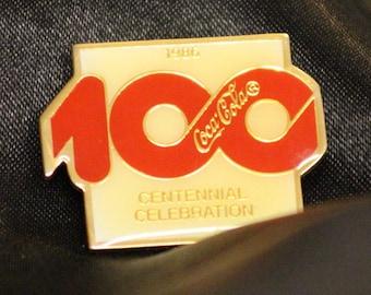 Vintage Coca Cola 1986 100 Centennial Celebration Pin Coke pin Wilson Marketing