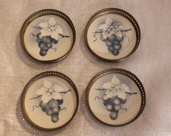 Vintage German Coasters Grape pattern Blue on White Stamped on Bottom 1930s