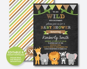 Instant Download, Editable Safari Baby Shower Invitation, Safari Invitation, Jungle Safari, Boy Baby Shower,Baby Sprinkle,Chalkboard(CBS.41)