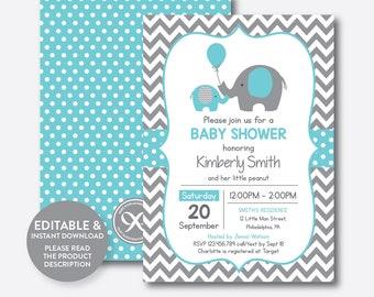 Instant Download, Editable Elephant Baby Shower Invitation, Aqua Blue Elephant Invitation, Little Peanut, Baby Sprinkle,Aqua Chevron(SBS.42)