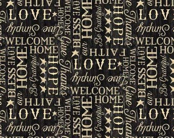 The Way Home Black and Tan Words Fabric - Jennifer Pugh - Wilmington Prints - by the half yard - 100% Cotton