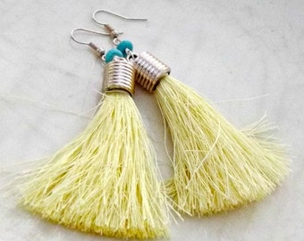 Yellow Tassel Earrings, Boho Earrings, Long Dangle Earrings, Hippie Earrings, Gypsy Earrings, Bohemian Earrings, Lightweight Earrings