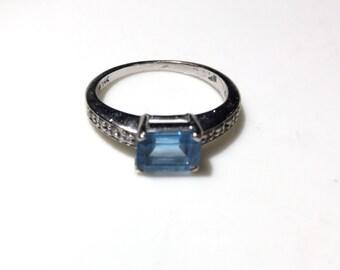14k White Gold Emerald Cut Blue Topaz and Diamond Ring Size 5