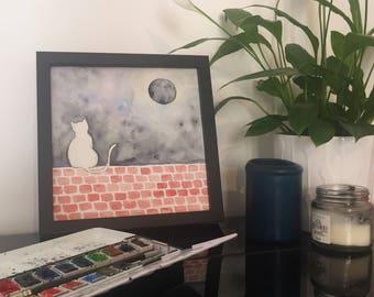 Cat we have wall - watercolor original