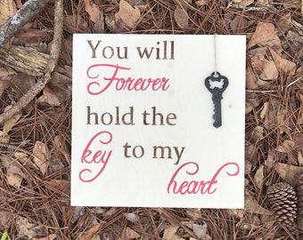 Wood love sign, Valentines Day decor, love sign, nursery decor, wedding sign, skeleton key, you forever hold the key to my heart,