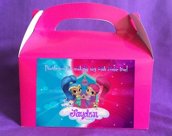 Personalized Shimmer and Shine Treat boxes