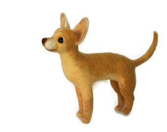 Dog.Chihuahua.Needle Felted Dog. Brown Bog.Soft Sculpture.Pet.Felted Animal.Cute Miniature.Made to order.