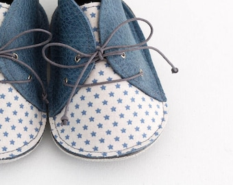 BLUE STARS modern baby shoes in genuine soft leather and cotton