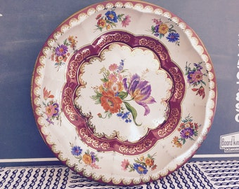 Vintage Daher Decorated Ware Floral Basket / Fruit Bowl