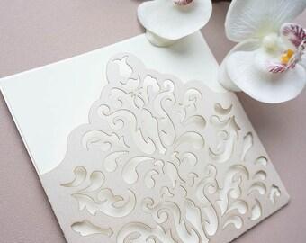 Ivory wedding invitation, laser cut wedding invitation,lace wedding invitation, romantic wedding invitation, Laser cut invite