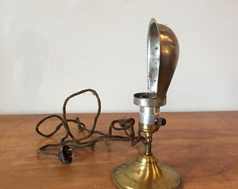 Vintage industrial brass Hubbell desk / wall lamp